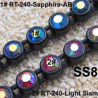 Sew On Rhinestone trimming 10 Yards/Lot SS8 High Quality Crystal Colorful AB Single Row Rhinestone Banding