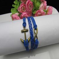 2015 Hot sale Europe retro multilayer bracelet velvet rope bracelet with leather rope wax rope fashion bracelets pulseras