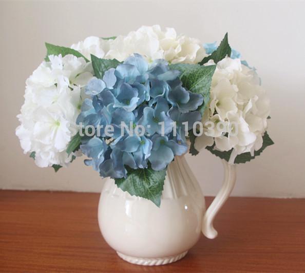 14 CM grandes flores artificiais bouquets de seda do hydrangea hortênsia real toque para flores arranjos de decoração para(China (Mainland))