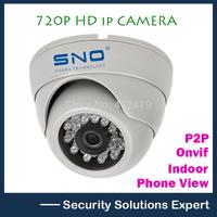 Korea Sno Onvif 1280*720P HD 1.0MP Mini Dome IP Camera,IR Night Vision ip cam,P2P Plug Play CCTV Security camara,Free Phone view