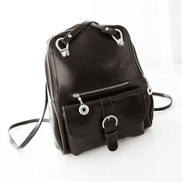2015 New arrival Korean style women's casual backpacks fashion belt decorated shoulder bag backpack PU leather Free shipping
