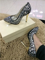 2015 New JC Rhinestones High-heeled Shoes Pumps Women Diamond Pointed Toes High Heels Sexy Female Wedding Shoes Crystal 11CM