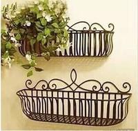 Panacea Flat Iron Flower Pot Wall Hanging Lined Window Deck Planter Black Fence