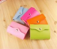 24pcs Candy Color Leather Card Holder Bank/credit/transportation/VIP Bag / Card Cover Book Color Random