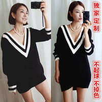2015 Promotion Sale Preppy Style Deep V Neck Medium-long Sweater Female Thickening Outerwear Pullover Autumn And Winter Basic