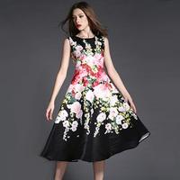 Fashion Vintage Floral Print Dress Woman Spring 2015 Fresh Printed High Waist Slim Medium-long Dress