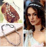 Lady Elastic Rhinestone Diamond Headbands Wedding Bridal Flower Headband Hairbands Headwear AY300508