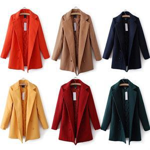 New Hot Stylish Women Morden Slim Long Wool Blends Coat Women Winter Plus Size Solid Full Sleeves Turn Down Collar Thick Coat(China (Mainland))