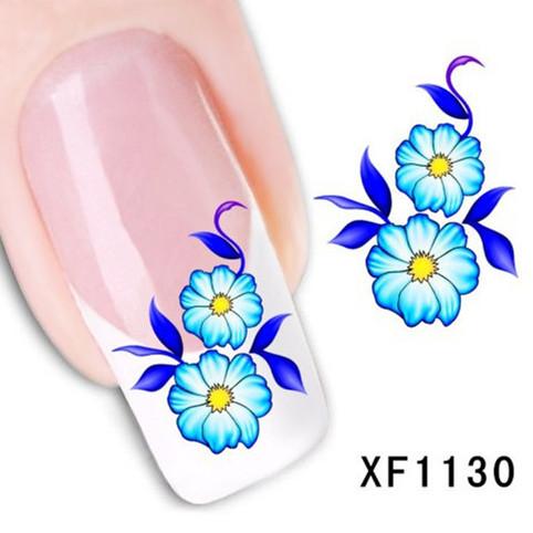 1Pcs Nail Art Water Sticker Nails Beauty Wraps Foil Polish Decals Temporary Tattoos Watermark + Free Shipping (XF1130)(China (Mainland))
