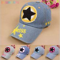 Summer Sun Hat Child Hats Embroidered Pentacle Caps Children's Hat Miss Denim Baseball Cap Snapback