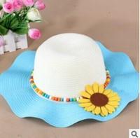 children's spring summer straw hats 2015 new Korean large brimmed sun cap Sunflower Princess flounced beach hat
