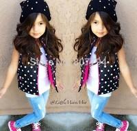 Free Shipping 2015 New children suits fashion baby girls point clothing kids vest coat+vest+jeans 3pcs sets kids jeans suits