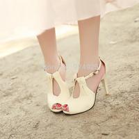 plus size Super high heel open toe shoes leather sandals women pump sandalias femininas size 10 11