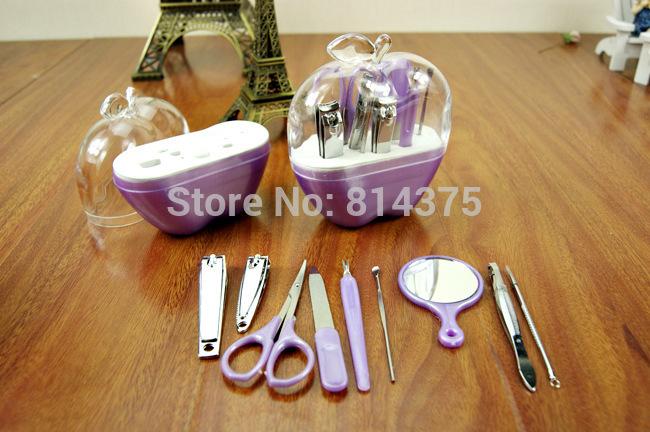 Free Shipping 110*120*45mm Promotion Gift Apple Design 9pcs Beauty Manuicure Kit Set Purple 1set/LOT(China (Mainland))