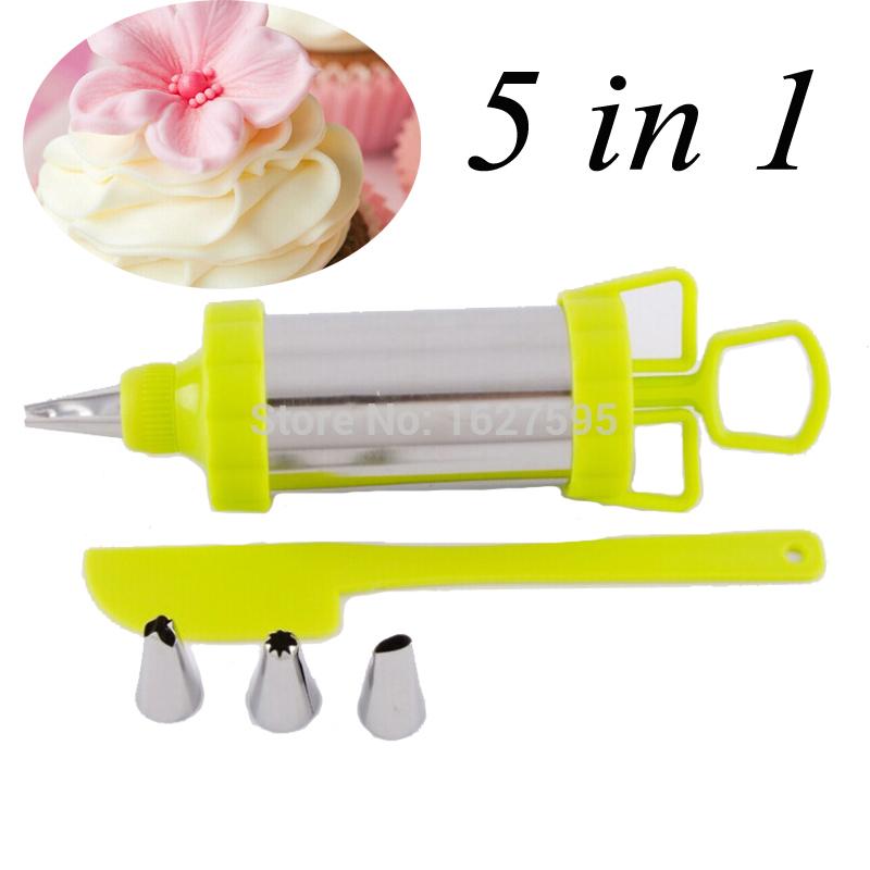 Chegada nova decoração do bolo conjunto de ferramentas 5 em 1 bolo caneta seringa com bolo Piping bicos e Cookie Cutter(China (Mainland))