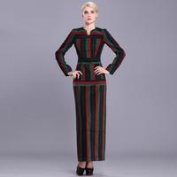 women work wear 2015 spring and autumn vintage fashion plus size xl xxl xxxl stripe slim fits woolen bodycon long maxi dress