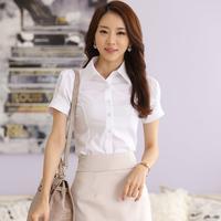 White shirt female summer short-sleeve 2015 work wear formal tooling plus size professional women's slim ol S-5XL Large