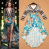 2015 catwalk show bohemian floral strip print elegant women's high quality runway dovetail dress free shipping
