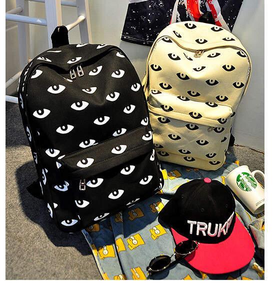 2015 New Design Canvas Big Eyes Printing Women Travel Backpacks College Student School Book Bag Leisure Shoulder Bag  688e(China (Mainland))