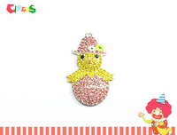 New  ~! 46mm*31mm  10pcs/lot  Baby Duck With Hat  In Easter Egg   Rhinestone  Pendants