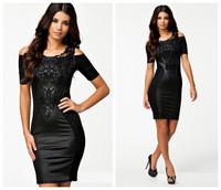 2015 Women Summer Lace Dresses short Sleeve Lady Lace Dresses Women Summer Dress Collar Chiffon Drss plus size Big Yards