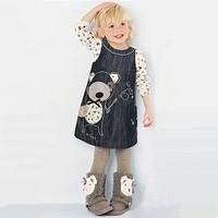 Girls Dress Children Dresses Knee-Length With Pocket Brand Dress New Fashion Cowboy Babi Dress 2-5yrs Christmas Children Cloth