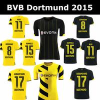 Top Thai Quality BVB 14 15  Borussia Dortmund Soccer Jerseys 14/15 REUS HUMMELS AUBAMEYANG Borussia Dortmund Yellow Black 2015