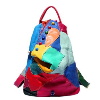 2015 новая коллекция весна и лето женщины рюкзак уникальный лоскутное естественно из натуральной кожи рюкзаки мода дорожные сумки спортивная сумка