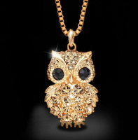 Hotsale 14K gold plated Austria crystal golden Owl long sweater vintage pendant necklaces fashion women jewelery