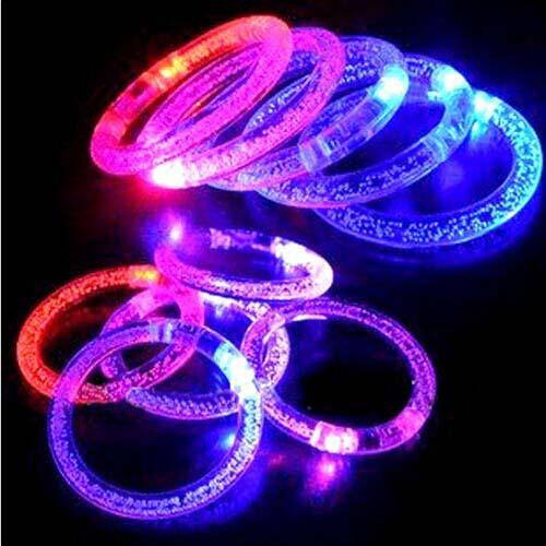 light up acrylic bracelets led flashing wristbands blinking colors party(China (Mainland))