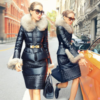 2014 Winter Thicken Warm Woman Down jacket Coat Parkas PU leather Outerweat Luxury Brand Slim Mid Long Raccoon Fur collar 2 sets