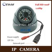 SNO 1280*720P H.264 1.0 Megapixel HD ONVIF 2.0 IP Camera P2P Indoor 24pcs IR LEDs IR-CUT Night Vision Network Dome Camera