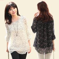 Chiffon Polka Dots Shirt female 2015 summer plus size clothing loose top Three Quarter Sleeve Large S-5XL