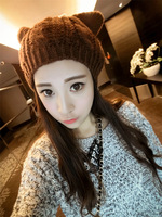 Fashion New Women Cat Ear Crochet Braided Knit Ski Beanie Wool Hat Warm Beret
