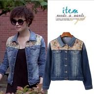 Korean Style Women Casual Fashion Floral Print Denim Patchwork Jacket Short Slim Jean Coat Blue