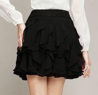 2015 S M L XL Women Fashion Empire Ruffles Chiffon Pleated Mini Skirts Lady Sexy Party Skirts 3283