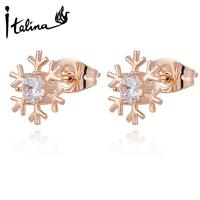 Italina Rigant Snowflake Studs Earrings With Austria Crystal Stellux Enviromental Women Cute Brincos Top Qualtity