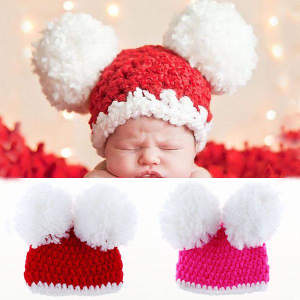 New Pom-pom Baby Handmade Hat Crochet Pattern Newborn Toddler Beanie Hat Knitted Winter X Xmas Cap Photography Props(China (Mainland))
