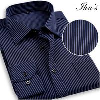2015 Fashion Men Fit Striped Shirts Men's Full Sleeve Casual Dress Shirt  Mens 4XL Plus Size Roupas Camisetas Masculinas Camisa