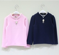 5 pcs/lot new 2015 spring fall kids girl fashion blue pink stand collar casual long sleeve t-shirt children t shirts clothes