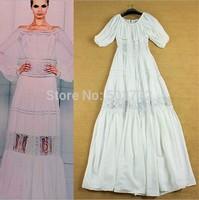 2015 New Spring Women Full Dress White Vintage Hollow Out Slash Neck Long Dress Lantern Sleeve Elegant Long Formal Dress