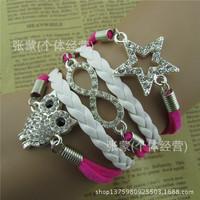 2015 Hot sale pentagram owl leather cord bracelet fashion jewelry pulseras