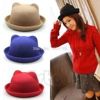 Fashion Unisex Women Parent-Child Ear Cap Derby Cat Wool Fedora Bowler Hats