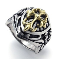 Jewerly Men's 316L Stainless Steel Titanium Gold Knight Fleur De Lis Cross Rock N' Roll Ring M074106