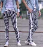 Men's Clothing Male Spring Fashion Striped Flat Harem Men Pants Casual Low Waist Trousers Slim Pantalones Hombre