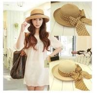 Women Brim Floppy Summer Beach a Sun hat Straw Hat button Cap summer bow hats for women