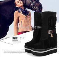 2014 Winter Women Fashion boots Black Tassel Flock boots medium-leg platform Zip boots Sexy Women wedges Boots SNA Size 35-39