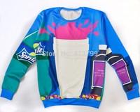 New fashion Women Men space Stitching Sprite coke Pullovers 3d Sweatshirts Hoodies jacket Galaxy shirts sweaters Tops