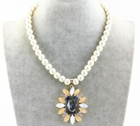 2105 Fashion Elegant String Glass Pearl Necklace Women Pearl Bead Necklace Wholesale