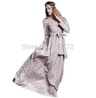 2015 New Spring Women Full Dress Vintage Bow Charming Floral Print Long Dress Full Sleeve Elegant Long Formal Dress Slim 2 Color